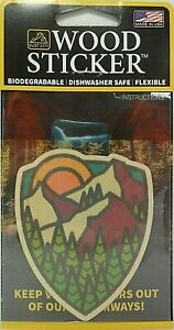 Shield Mountain Scene Wood Sticker - Made In USA -