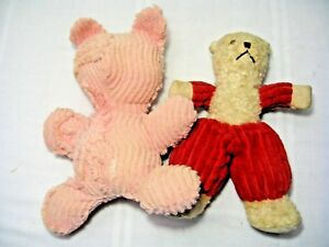 "LOT of 2 VINTAGE 13"" CHENILLE PLUSH BEARS - RED/IVORY and PINK"