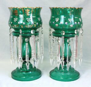 PAIR VICTORIAN GREEN TABLE MANTLE LUSTRES
