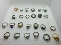 Bulk Lot Costume Jewelry Vintage Rings 25 Items Gold Silver Tone FREE SHIPPING