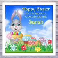 EASTER BUNNY EASTER EGG CARDS - personalised with any RELATIONSHIP & NAME