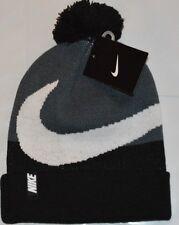Nike  Beanie Winter Pom Hat - Boy's Black/Grey Size 8 -20  Free Shipping   New