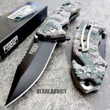 """8"""" Military ARMY Camo Spring Assisted Open Pocket Knife Tactical Rescue Combat"""