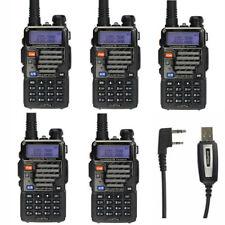 5×BaoFeng UV-5R Plus +Cavo Vhf Uhf 136-174/400-520MHz RICETRASMITTENTE PMR Radio