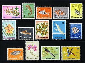 SINGAPORE MALAYSIA 1962-66 Orchids, Fish & Birds Set to $1 SG 63 to SG 75 MINT
