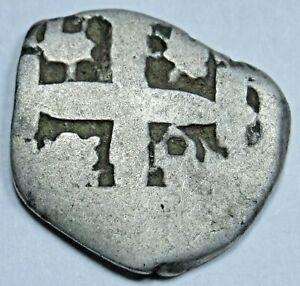 1700's Peru Silver 1 Reales Antique Spanish Colonial Pirate Treasure Cob Coin