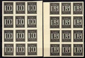 FRANCE , 1896 , very scarce 10 c and 15 c. PROOF STAMPS , BLOCKS of 12 , NG