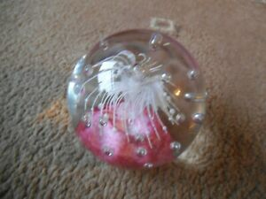 Glass PAPERWEIGHT Pink / White   VGC