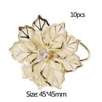 10 Stücke Metall Blume Gold Serviettenring Papierhalter Hochzeit Geschirr WRZ