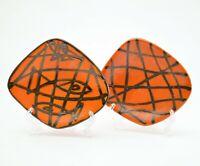 PAIR OF Small serving PLATES, mid century modern, studio art 70s orange, fish