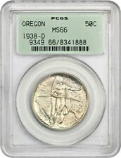 1938-D Oregon 50c PCGS MS66 - Low Mintage Issue  - Old Green Label Holder