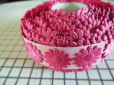 2m -Fuchsia, Daisy Flower Motif,Applique,Trimmings,Wedding -Satin Lace Ribbon