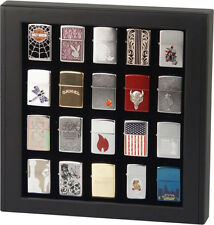 BLACK CUPBOARD CABINET DISPLAY BOX CASE for 20 ZIPPO LIGHTERS * NEW *