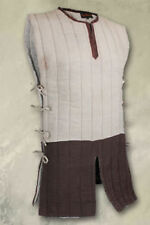 Medieval Celtic Viking Padded Armour White&Brown Gambeson Without Sleeves pa37