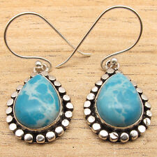Handmade Earrings ! Beautiful Simulated LARIMAR 925 Silver Plated Jewelry