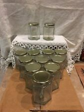 12 Hexagon (Hex) Glass Jars for Candles Wick in Jar with Lids (9oz)