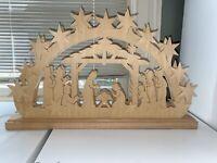 Ratags Holzdesign Nativity And Stars Illuminated Sub base- Preowned Christmas