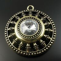 Antique Style Bronze Tone Crystal Gemstone Round Charm Pendants 50*50*20 mm 2pcs