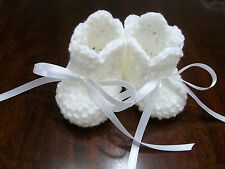 Handmade Crochet Baby Booties size 0 to 3 Months, Newborn ( white )