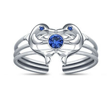 Dolphin Adjustable Toe Ring For Women's 14K White Gold Finish Blue Sapphire Two