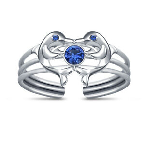 14K White Gold Finish Blue Sapphire Two Dolphin Adjustable Toe Ring For Women's