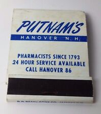 VTG matchbook Putnams Pharmacy unstruck matches intact front strike Hanover NH