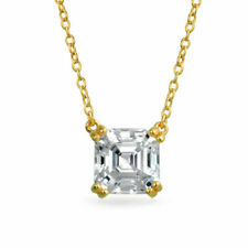 1.5 CT Square Asscher Cut CZ Pendant Necklace 14k Gold Plated Sterling Silver