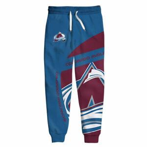 COLORADO AVALANCHE Mens Sweatpants Polyester Sweats Pants S-6XL ICE HOCKEY TEAM