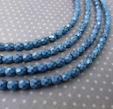 Fire polished czech glass beads 4mm SNAKE PLACID BLUE - 38 beads per strand