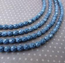 Cuentas checas de vidrio Fuego Pulido 4mm Serpiente Placid Blue - 38 Perlas por Strand