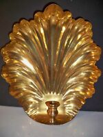 LARGE BRASS SEASHELL CANDLE HOLDER 13 3/4'' TALL WALL HANGABLE