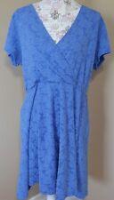 Derek Heart Plus dress 2X lace blue empire crossover neckline v-neck