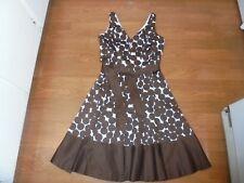 Nine West brown & white polka dot sundress with tie belt size 2