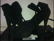 COLIN STUART Designer Black Platform High Heel Suede Leather Boots Size 7