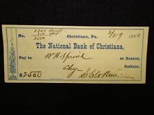 National Bank Of Christiana, Pa Check Dated  3/19/1883
