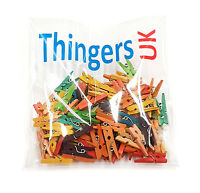Small Mini Wooden Pegs - 2.5cm - MIxed Colour - Choose Pack Size - UK Supplier