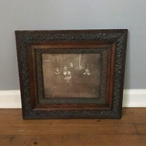 Fabulous antique Oak wood carved picture frame w Photo Circa 1900 Excellent