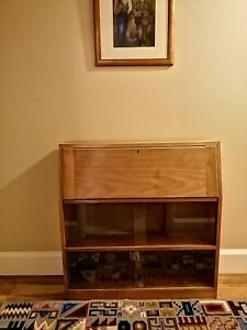 70s Style Bureau Desk With Glass Cupboard Possibly Teak collect from Nottingham
