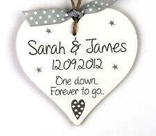 Personalised 1st First Wedding Anniversary Wooden Heart Plaque Mr Mrs Gifts Grey