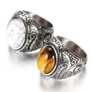 Vintage Silver Stainless Steel Tiger's Eye Stone Biker Finger Rings Jewelry