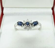 18ct White Gold 0.78ct Natural Sapphire and Diamond Cluster Ring,