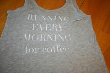 """Running Every Morning (for Coffee)"" Grey XSmall aerie Flowy Tank/Preowned"