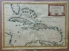 WEST INDIES 1656 NICOLAS SANSON LARGE ANTIQUE MAP IN COLORS 17TH CENTURY