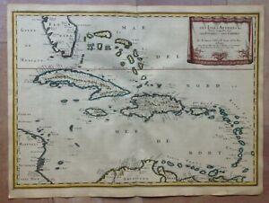 WEST INDIES 1656 NICOLAS SANSON LARGE ANTIQUE MAP IN COLORS 17TH CENTURY