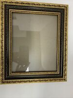 "Victorian Wood Picture Frame Gilded Gold Black Ornate Holds 8""x10"" Photo Wall"