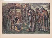 """1939 Vintage """"THE STAR OF BETHLEHEM"""" by BURNE-JONES JESUS Color Art Plate Litho"""