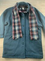 *VTG Woolrich Womans Pea Coat Jacket Medium Teal Plaid Thick Heavy Wool USA