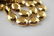 20pcs Crystal Glass Charm Flat Oval 20x16mm Charms Necklace Findings Loose Beads