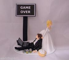 Wedding Reception Game Over Beer Can Laptop Computer Drunk Nerd Geek Cake Topper