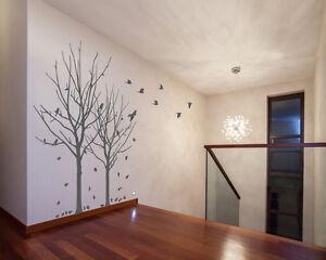 Autumn Tree Winter Branches Birds Leaves Wall Window Decal Grey Matt Finish A356